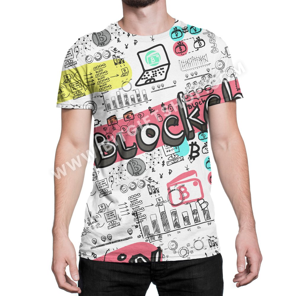 Blockchain All Over T Shirt 1 Store For All Bitcoin And