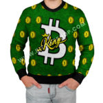 Bitcoin King. Crypto Ugly Sweater. Full knitted