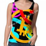 Bitcoin colorful pattern top tank women's