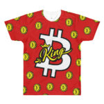 Bitcoin King all-over printed red t-shirt