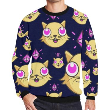 CryptoKitties Men's Oversized Fleece Crew Sweatshirt (Navy)