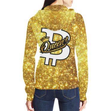 Bitcoin Queen Gold Full Zip Hoodie for Women